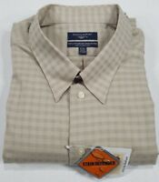 NWT Men's Dockers Dress Shirt Brown Check Stain Defender Size 18/18.5 - 34/35