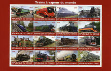 Congo 2017 MNH Steam Trains Engines of World 16v M/S Railways Rail Stamps