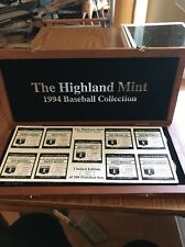 HIGHLAND MINT 1994 BASEBALL COLLECTION .999 SILVER COIN ROUND SET IN WOODEN CASE