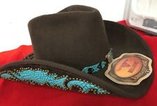 """Bullhide """"Natural Beauty"""" Premium Wool Cowgirl Hat-Turquoise accents -NWT- SZ Sm"""