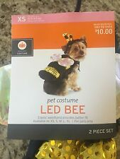 """Pet Costume """"LED Bee"""" Halloween XS up to 10 lb Dogs or Cats New 2 Piece Set"""