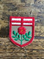 Vtg Alberta Rose Shield Embroidered Sew On Patch Canada AB Travel Crest 1.75""