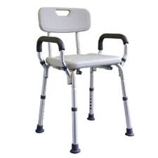Shower Chair, Aluminium Height Adjustable with Arms and Removable Backrest MLE