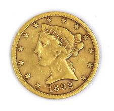 1892-S LIBERTY HEAD FIVE DOLLAR $5 HALF EAGLE 90% GOLD US COLLECTIBLE COIN