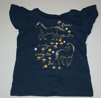 New Carter's Girls 5T Top Galloping Horse Glitter Gold Graphic Tee Blue