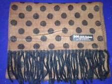 100% Cashmere Scarf Brown Black Polka Dot Scotland Wool Check Plaid Women C70