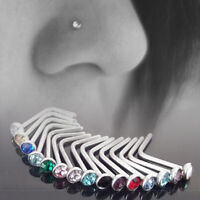 10pc Rhinestone Stainless Steel Charm Nose Body Piercing Stud Crystal Screw Ring
