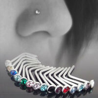10x Rhinestone Surgical Steel Screw Nose Hoop Ring Studs Body Piercing Jewelry #