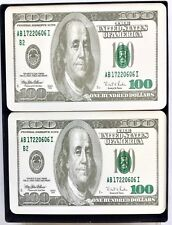 2 NEW DECKS OF $100.00 BILLS PLAYING CARDS ~ U.S. CURRENCY PLASTIC PLAYING CARDS