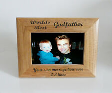 Worlds Best Godfather 6 x 4 Wooden Photo Frame  - Personalise this frame  Free