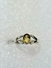 Gorgeous Sparkling Yellow Citrine Stone Ring 925 Solid Silver Size O~O1/2