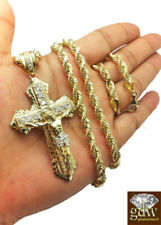 10k Gold Men's Jesus Crucifix Cross Pendent Charm with 24 Inch Rope Chain REAL