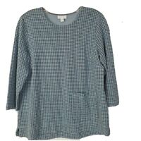 J. Jill Blue Houndstooth Check Ponte Knit Pullover Top Pockets Womens Size S EUC