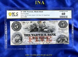 Rhode Island Warwick Bank $5 Obsolete PCGS Unc 60 Details Fully Issued Very Rare