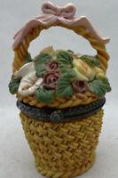 """Vintage Limoges Type Golden Flower Basket Resin Trinket Box 3""""h K's Collection"""