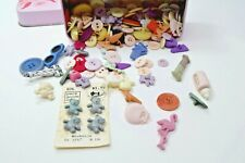 Buttons Lot Vintage with Tin Box Mixed Baby Pink Blue Sewing Fashion Miniatures