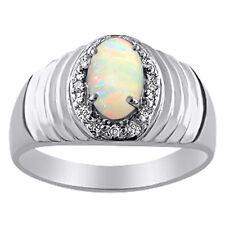 Opal & Diamond Ring 14K White Gold
