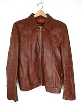 Vtg Adler Cognac Brown Lined Retro Leather Jacket Made in the USA Size 42 Long