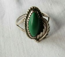 Native american silver with green stone & feather ring Size Q
