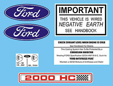 Ford RS 2000 Under Bonnet Decal Set MK1 & MK2 Escort RS2000 AVO