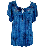 One World Women's live & let live Top, Size PL, Embrossed, Short Sleeve
