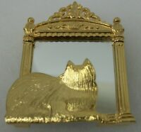Vintage JJ Gold Tone Cat Looking in Mirror Signed Costume Jewelry Brooch Pin