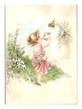 Girl w/ Tea, Street's Buckwheat Flour, New Haven, CT Victorian Trade Card *VT21