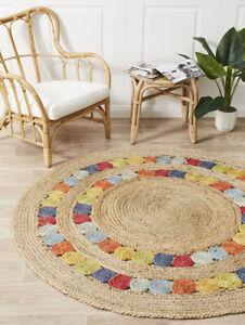 Braided Rug Rag Bohemian Jute Area Rug Round Shape Rag Home Decor Rugs Circle