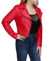 Giacca giubbotto donna rosso ecopelle casual chiodo giubbino corto taglia S M L