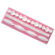 Flower Beads Ribbon strip Silicone Mold Mould Fondant Mat Cake Decorating Tool