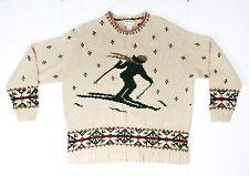 Eddie Bauer Women's Size Large Knitted By Hand Linen Cotton Winter Sweater Skier