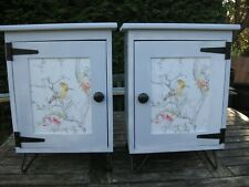 Pair of handmade bedside cabinets, painted duck egg blue, 60 cm x 33 cm x 44 cm