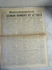 WW2 1940 Newspaper GERMAN BOMBERS HIT AT PARIS