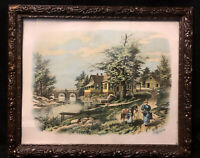 Antique Victorian Wood Gesso Frame F. Howard Lithograph1896 Wavy Glass Muller