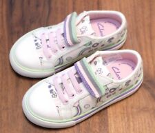 """Clarks Girls """"BRILL DOLL"""" cotton/white canvas shoes size 11.5G. New"""