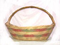 "Mexican VTG Handwoven Bonnet Shape Easter Basket Green Pink Bands Large 14x12x9"""