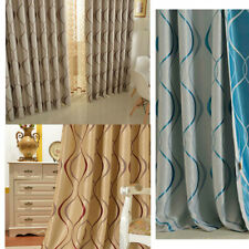 Luxury Wavy Striped Kitchen Curtains Living Room Bedroom Modern Blackout Curtain