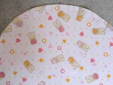 BASSINET SHEET/ FLANNEL / BUNNIES AND STARS IN PINK