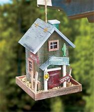 Fishing Lodge Themed Rustic Look Detailed Wooden Bird House Bird Feeder