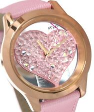 New GUESS U0113L5 Clearly pink crystal heart watch ,dazzling crystal with box