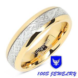 6mm Mens & Womens Tungsten Carbide Ring Meteorite Inlay Wedding Band Size 4-13