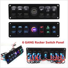 6 Gang Rocker Switch Panel Circuit Breaker LED Voltmeter 2 USB Car Marine Boat