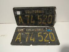 DMV cleared 1963 Black and Yellow California License set, pair Plates Embossed