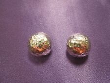 Sterling Silver 925 Hammered Button Clip On Earrings Signed ATI Designer