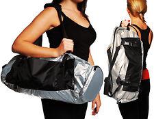 Yoga Mat Gym Bag Shoulder Tote Silver Harness Pockets Waterproof