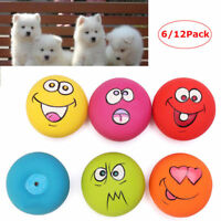 12PC UNIEX LATEX DOG PUPPY PLAY SQUEAKY BALL WITH FACE FETCH PET TOY UK