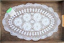 Vintage Style Fine Yarn Hand Crochet White Oval Doily Cotton Topper Doily