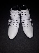 Topshop white leather ankle boot shoe studded straps size 6/39