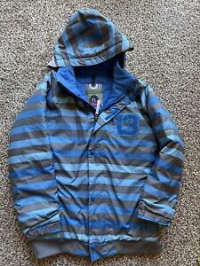 Burton Dryride Youth Boys XL 18 Winter Coat Ski Jacket Blue Striped