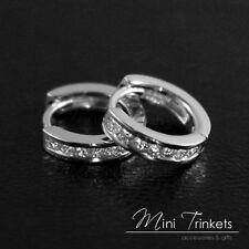 Pair Womens 925 Sterling Silver Cubic Zirconia Gem Huggie Hoop Stud Earrings